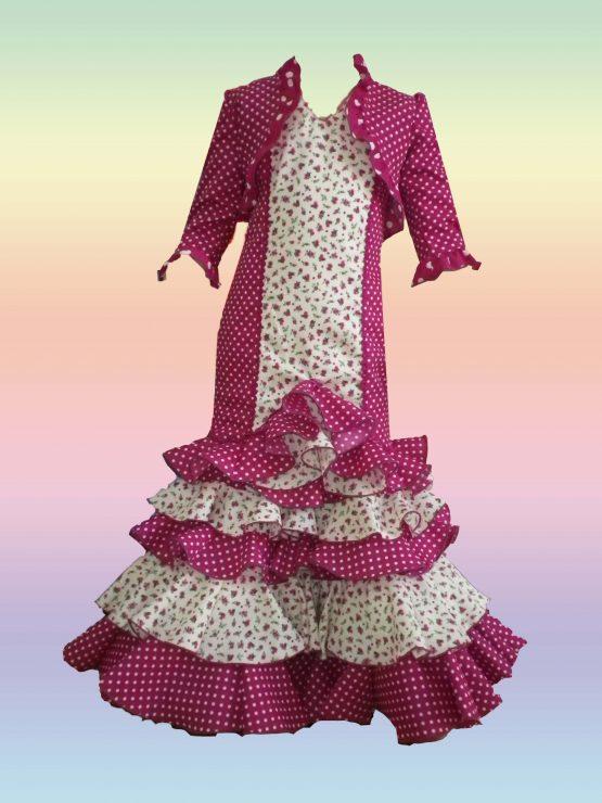 Traje de flamenca niña en pique color buganvilla
